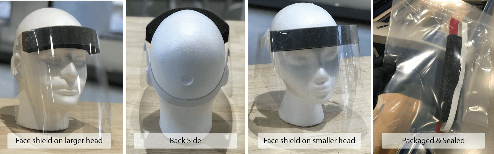 Views showing the fit of the Covid-19 medical face shield on different sized heads