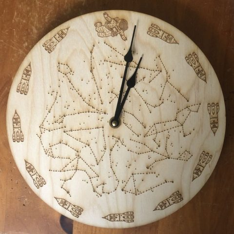Laser Cut Space-Themed Clock