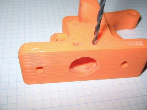 Picture of 3D print material being drilled