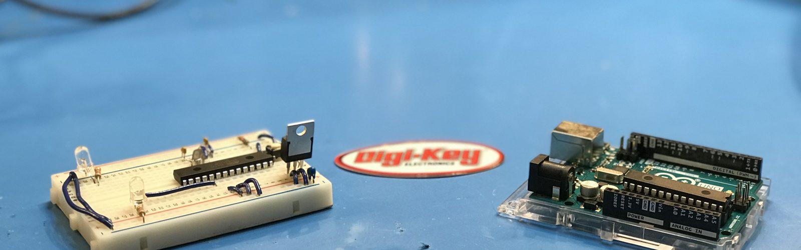 Picture of Arduino Breadboard and Arduino Uno Circuit board