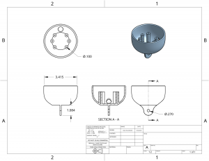 Ugly lamp section A-A blueprint drawing